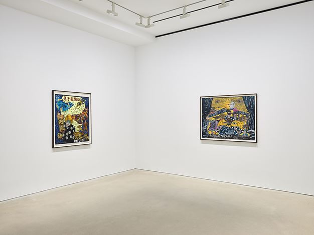 Exhibition view: Marcel Dzama, Crossing the Line, David Zwirner, Hong Kong (22 January–9 March 2019). Courtesy David Zwirner.