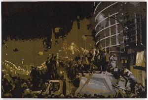 F-Tomb (crowd) / fan blanket by Marley Dawson contemporary artwork