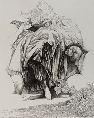 Welcome to the Garden - Suite of 4 drawings by Andrew Kayser contemporary artwork