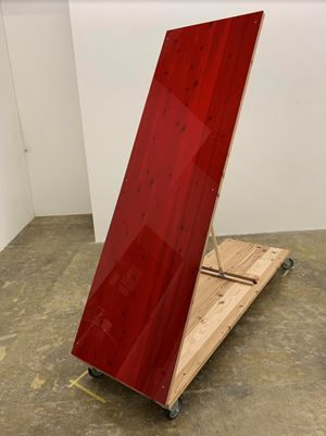 Sloping Sculpture (red) by Tomii Motohiro contemporary artwork