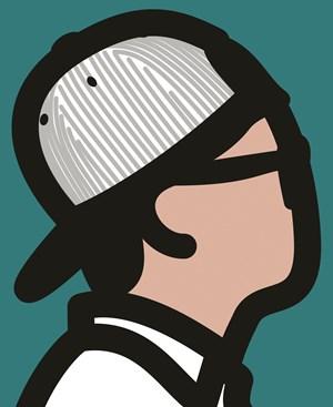 Baseball cap boy by Julian Opie contemporary artwork