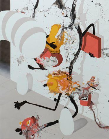 José Castiella, Soul juggler (2021). Acrylic and oil on linen. 146 x 114 cm. Courtesy rosenfeld.