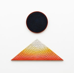 Lunar Sunrise, Lunar Sunset (Diptych: Blue and Light Blue #2MT, Painted Yellow Sand SF #1R, Black and Orange, Yellow Ground; Black #1PT, Painted Yellow Sand SF #1T, White to Red Gradient, Yellow Ground) by Jennifer Guidi contemporary artwork