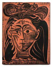 Femme au chapeau fleuri (A.R.521) by Pablo Picasso contemporary artwork sculpture