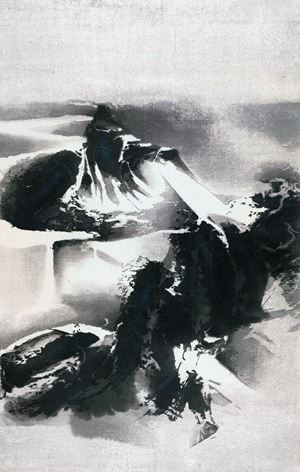 Wintery Mountains Covered with Snow  《寒山雪霽》 by Liu Guosong contemporary artwork
