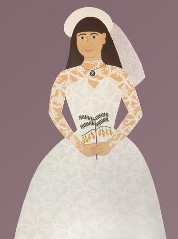Ayesha Green, Mum on her wedding day, (2021). Acrylic on canvas. Courtesy Jhana Millers.