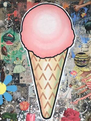 PINK CONE by Donald Baechler contemporary artwork