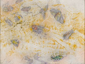 Windblown insects on the salt - Lake Tyrrell (for JC) by John Wolseley contemporary artwork