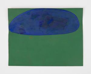 resolute blue and green composition by Suzan Frecon contemporary artwork