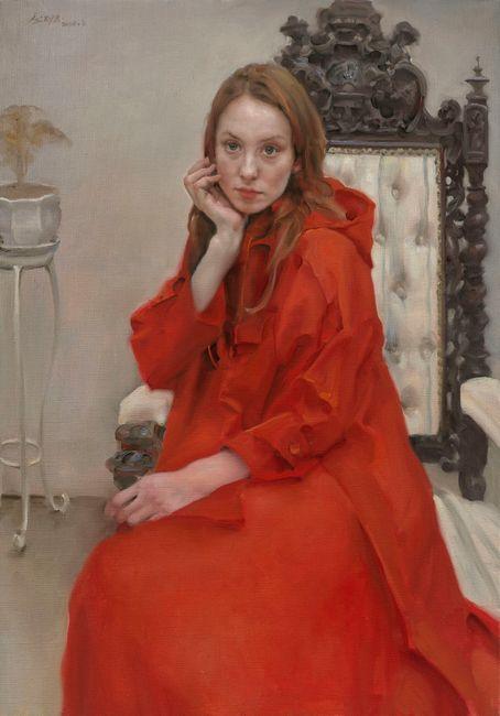 Nina in Red Windbreaker by Pang Maokun contemporary artwork