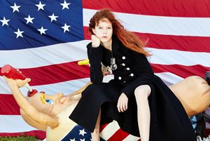 Nathalie with Hot Dog and Flag by Roe Ethridge contemporary artwork