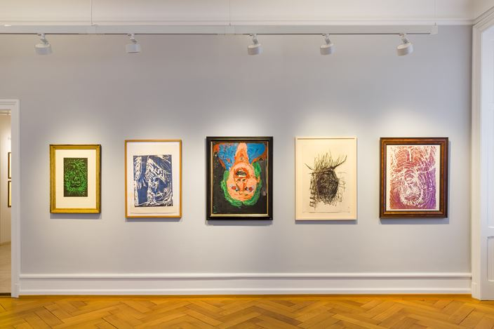 Exhibition view: Georg Baselitz, The World Upside Down: Works by Georg Baselitz 1965–2015, Lévy Gorvy with Rumbler, Zurich (11 September 2020–29 January 2021). © Georg Baselitz. Courtesy Lévy Gorvy. Photo: Niklaus Spoerri.