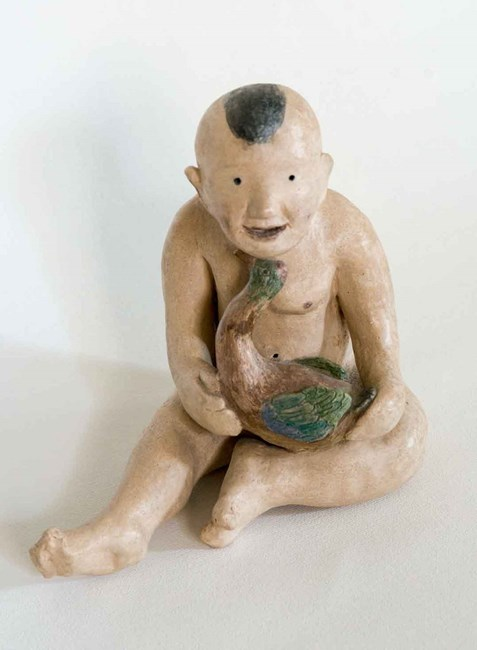 Boy With Goose by Fu-sheng Ku contemporary artwork