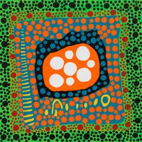 On Hearing the Sunset Afterglow's Message of Love, My Heart Shed Tears by Yayoi Kusama contemporary artwork painting