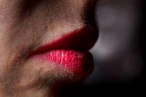 Lipstick and facial hair by Elinor Carucci contemporary artwork