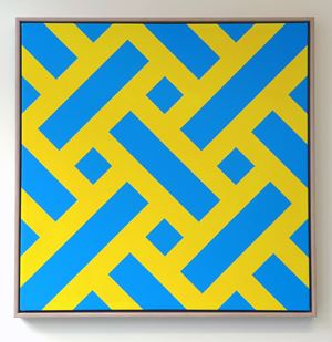 Small Lattice #23 (blue and yellow) by Ian Scott contemporary artwork