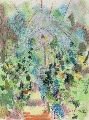 L'entrée de la grande serre by Jean Milo contemporary artwork