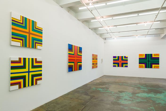 Exhibition view: Harriet Korman, Permeable/Resistant: Recent Drawings and Paintings,Thomas Erben Gallery, New York (1 November–22 December 2018). Courtesy the artist and Thomas Erben Gallery.