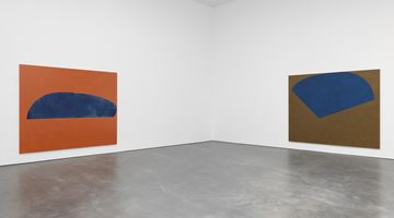 Contemporary art exhibition, Suzan Frecon, oil paintings at David Zwirner, 20th Street, New York