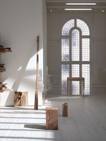 Exhibition view: Danh Vō,Cathedral Block, Prayer Stage, Gun Stock, Marian Goodman Gallery, London (18 September–1 November 2019). Courtesy the artist and Marian Goodman Gallery. Photo: Nick Ash.