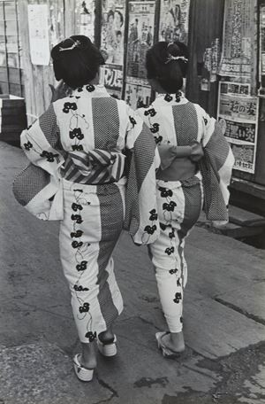 Girls on their way back from public bath, Koto, Tokyo by Hiroshi Hamaya contemporary artwork