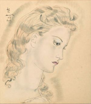 Portrait de jeune femme blonde by Léonard Tsuguharu Foujita contemporary artwork