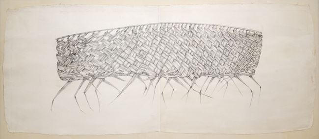 Coconut palm leaf drawing by Desmond Lazaro contemporary artwork