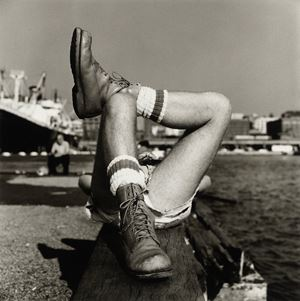 Christopher Street Pier #2 (Crossed Legs) by Peter Hujar contemporary artwork