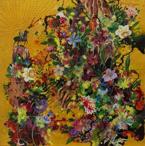 Priyantha Udagedara,Serendib 4,Mixed Media on Canvas, 60cm x 60cm. Courtesy Saskia Fernando Gallery.