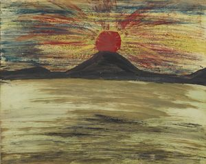 Untitled (Red sun, black mountain, grey sea) by Frank Walter contemporary artwork