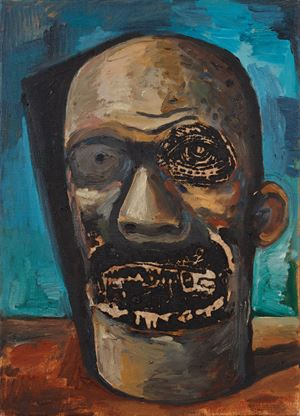 Head by Damien Deroubaix contemporary artwork painting