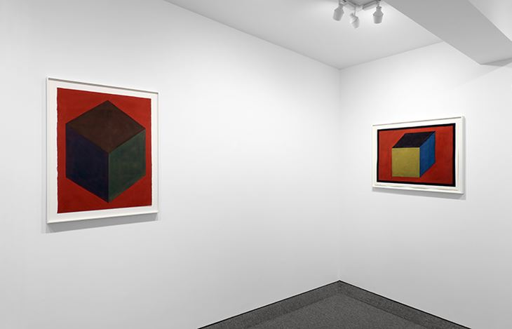 Exhibition view: Sol LeWitt, Forms derived from a cube in two and three dimensions, and one wall work, Krakow Witkin Gallery, Boston (8 January–29 February 2020). Courtesy Krakow Witkin Gallery.