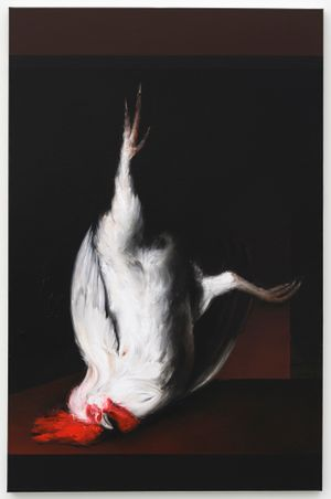 Dead Cock (Donald) (after Metsu) by Mircea Suciu contemporary artwork painting, works on paper