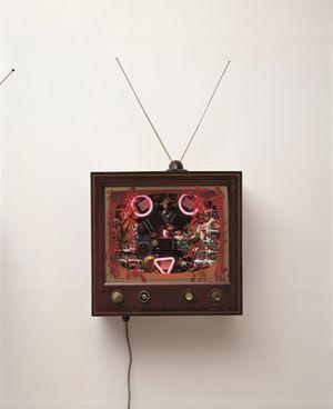 Neon TV - 22nd century Fox by Nam June Paik contemporary artwork sculpture, mixed media