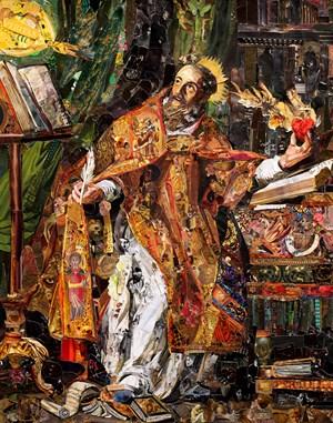 Repro (saints): Saint Augustine, after Philippe de Champaigne by Vik Muniz contemporary artwork