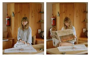Garance Reading the News Diptych by Johno Mellish contemporary artwork