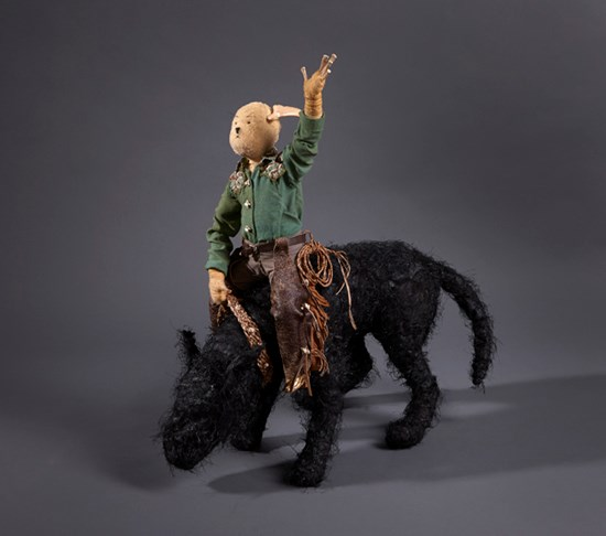 Bucking Black Dog by Linde Ivimey contemporary artwork