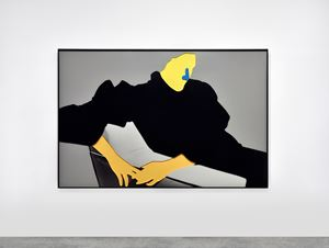 Noses & Ears, Etc. (Part Two): (Yellow) Face with (Blue) Nose, (Flesh) Hands, (Black) Dress and Chair by John Baldessari contemporary artwork