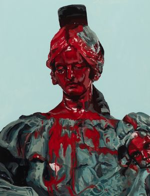 Defaced woman of the confederate statue by Melora Kuhn contemporary artwork