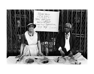 A Man and Woman at an Outdoor Bake Sale, Harlem, NY by Dawoud Bey contemporary artwork