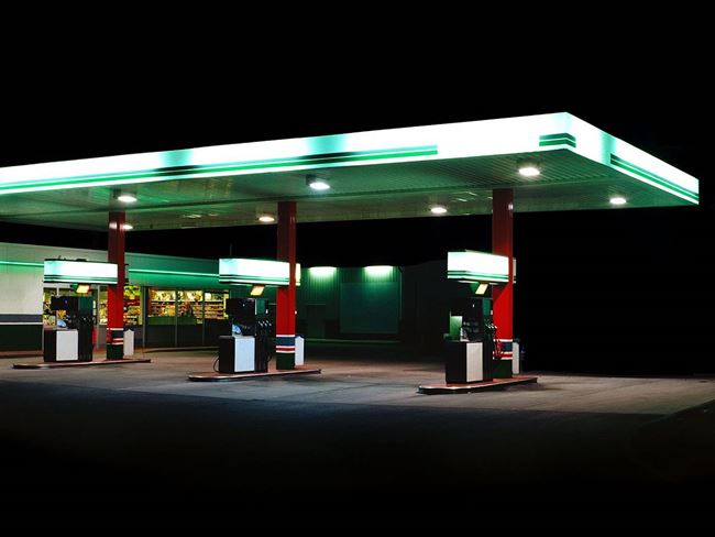 Petrol Stations - green / white by Ralf Peters contemporary artwork