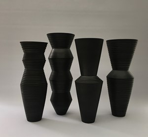 Charcoal Grooved Vessels [AF19-1-4] by John Parker contemporary artwork