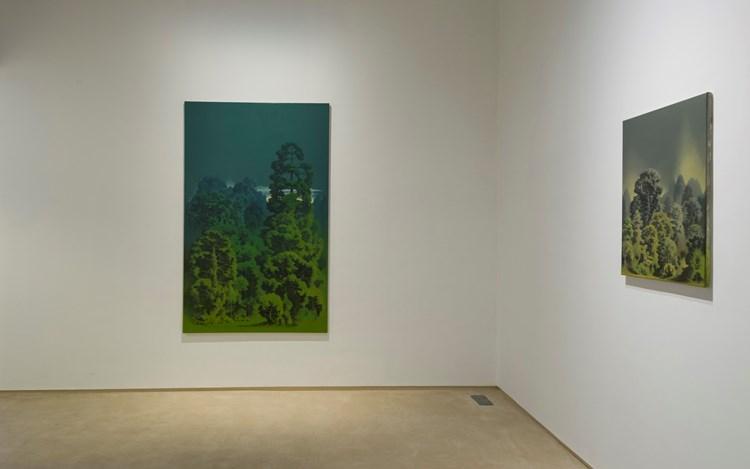 Exhibition view: Aji V.N., New Oils on Canvas, Galerie Mirchandani + Steinruecke, Mumbai (9 August–30 September 2017). CourtesyGalerie Mirchandani + Steinruecke, Mumbai.