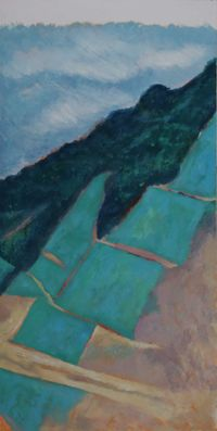 Green Climbing the Hillside by He Xun contemporary artwork painting