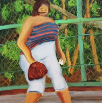 Girl with green fence by Hiroya Kurata contemporary artwork painting