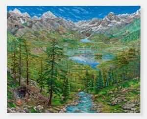 Self-Portrait in Kashmir Landscape (After Joachim Patinir) by Raqib Shaw contemporary artwork