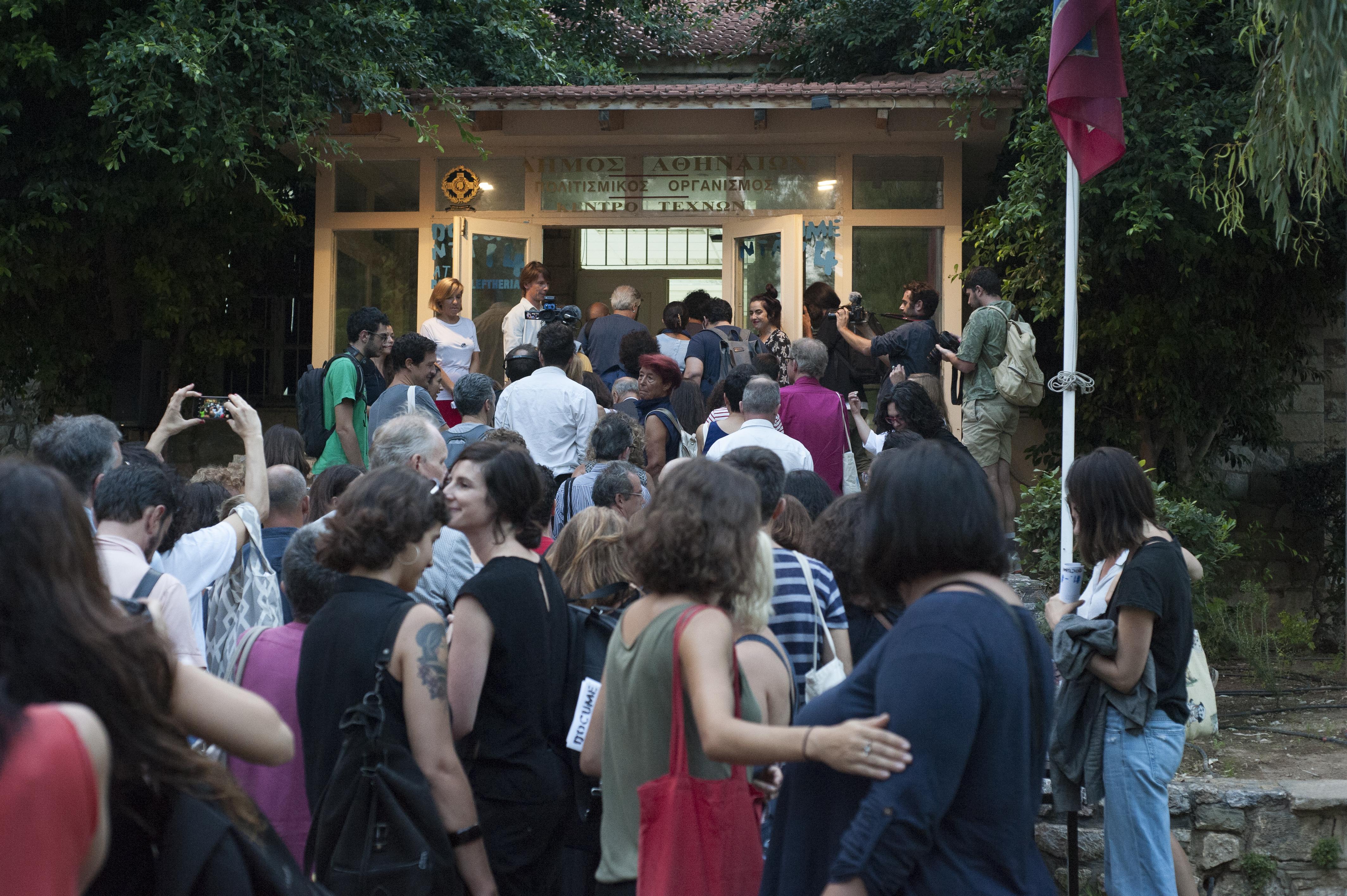 A group of people attending documenta 14's public program
