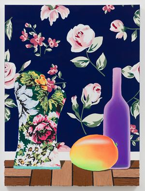 Oven Mitt, Mango, and Bottle by Alec Egan contemporary artwork painting