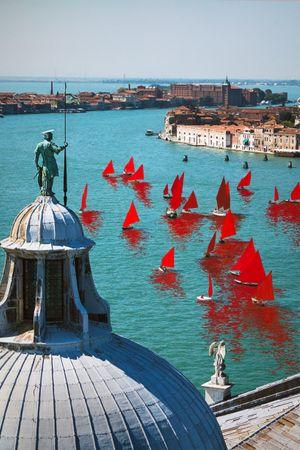 Red Regatta (Coppa del Presidente della Repubblica, San Giorgio Maggiore) by Melissa McGill contemporary artwork