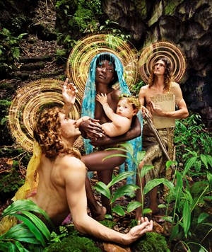 The Holy Family with St. Francis by David LaChapelle contemporary artwork